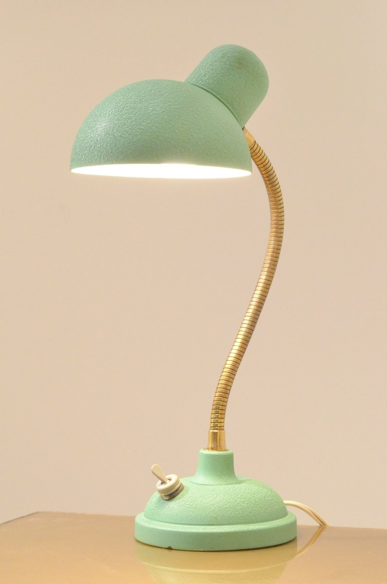 Mint Green Metal Brass Desk Lamp 1950s For Sale At Pamono