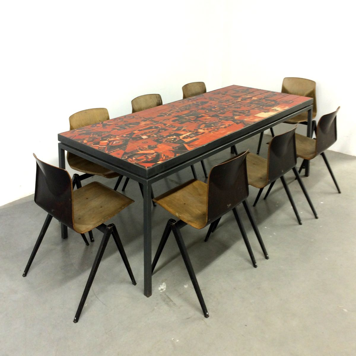 handmade dining table with tile topwilhelm and elly kuch, 1967