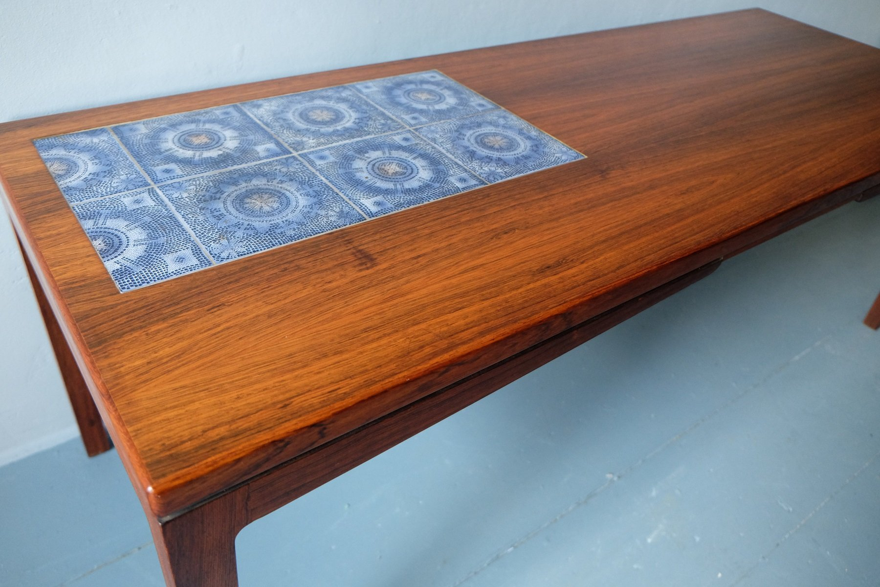 Danish Rosewood Coffee Table With Mosaic Ceramic Tiles, 1960s