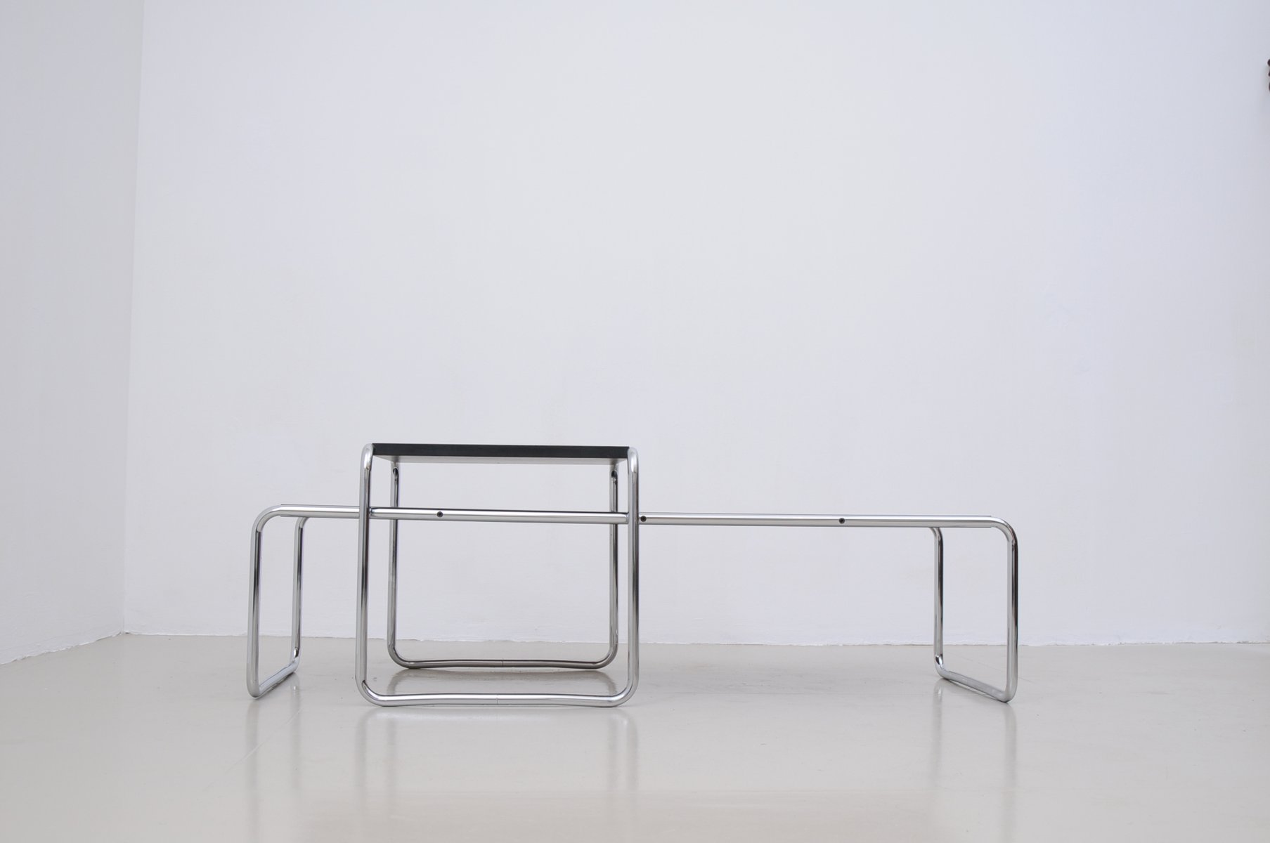 Vintage Italian Laccio Black Tables 1 U0026 2 By Marcel Breuer For Gavina, Set  Of 2