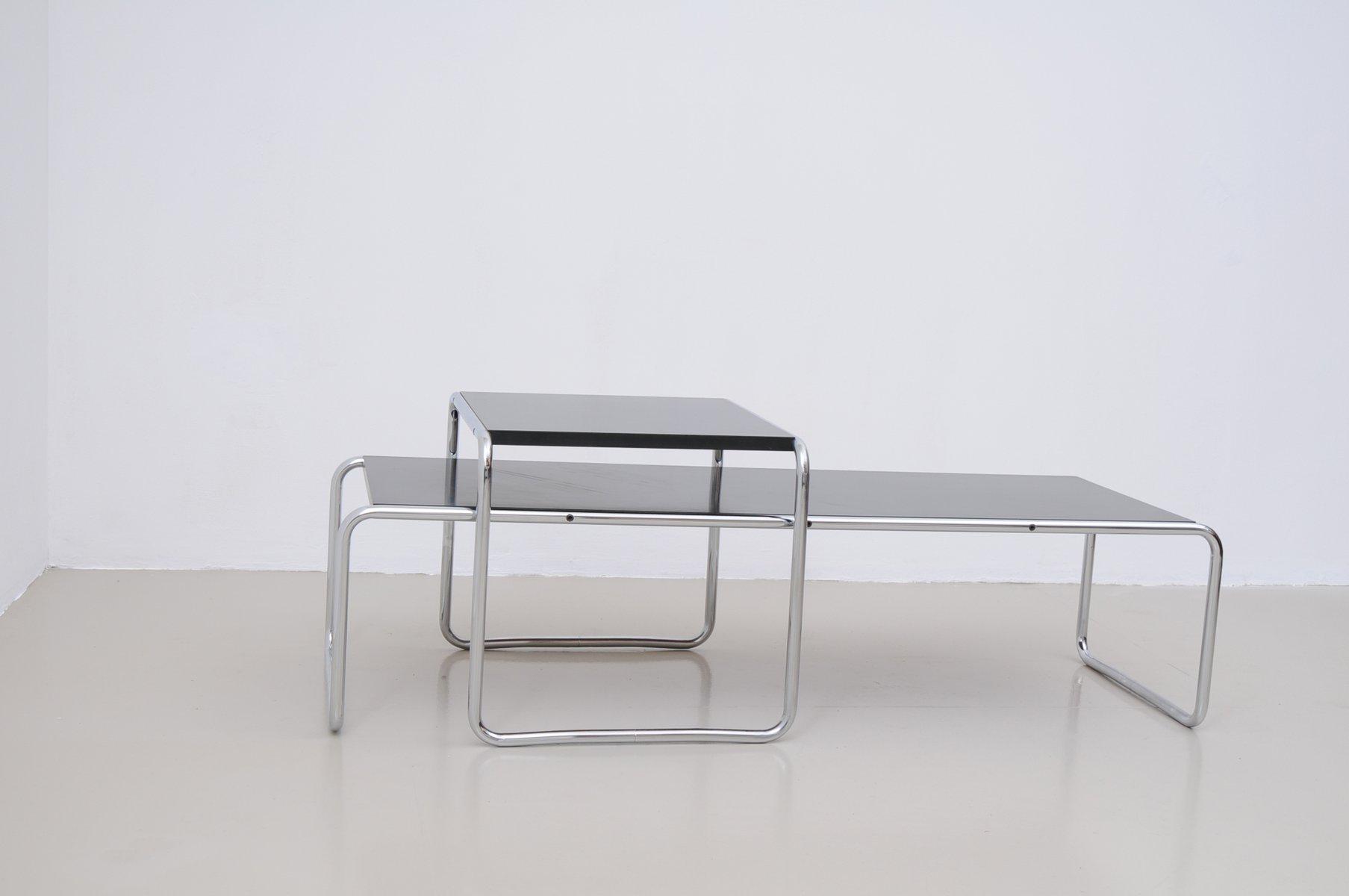 Vintage Italian Laccio Black Tables 1 & 2 by Marcel Breuer for
