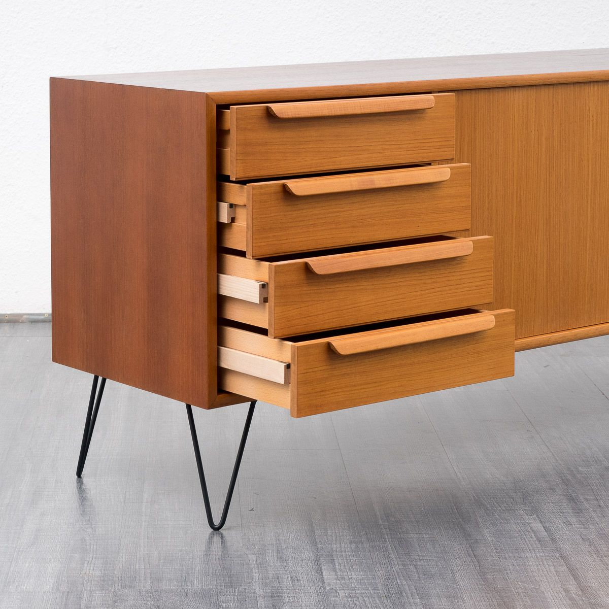 Teak sideboard with hairpin legs from wk mobel 1960s for for Vintage mobel sideboard