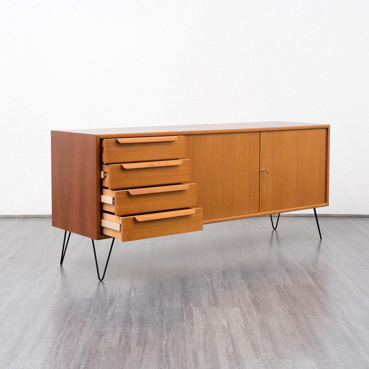 Teak sideboard mit metallf en von wk mobel 1960er bei for Vintage mobel sideboard