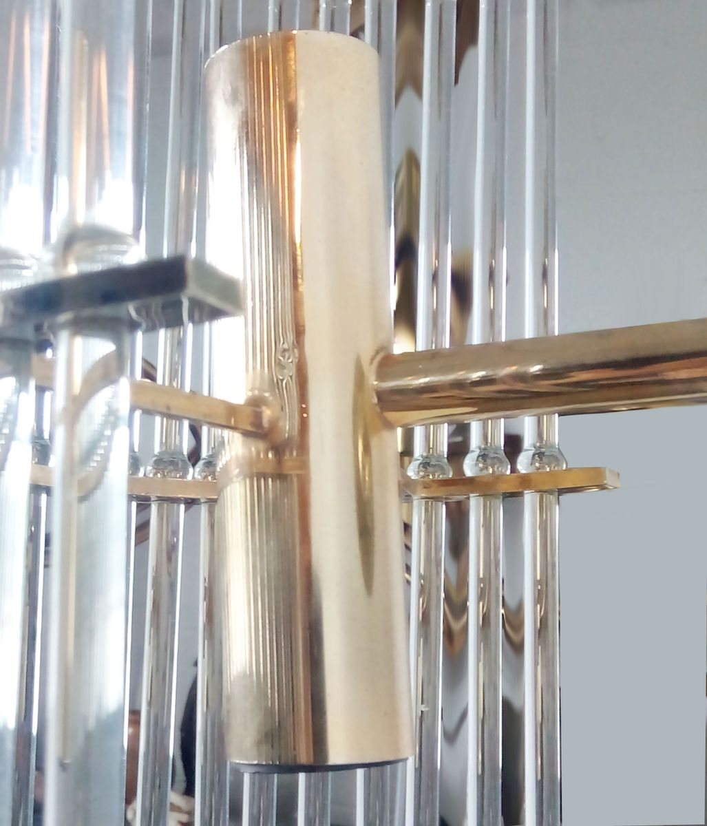 Wall Sconces Set Of 2 : Brass Wall Sconces with Glass Rods, 1960s, Set of 2 for sale at Pamono