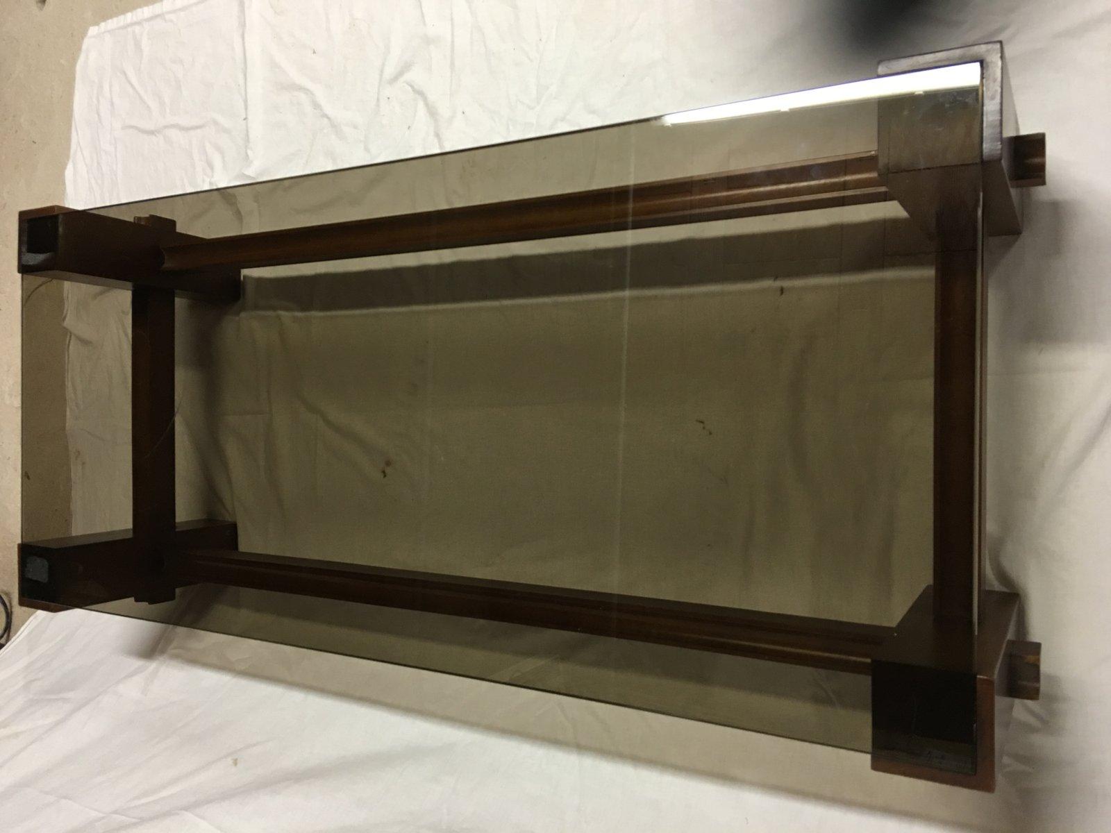 italienischer mid century tisch aus glas holz von fontana arte bei pamono kaufen. Black Bedroom Furniture Sets. Home Design Ideas