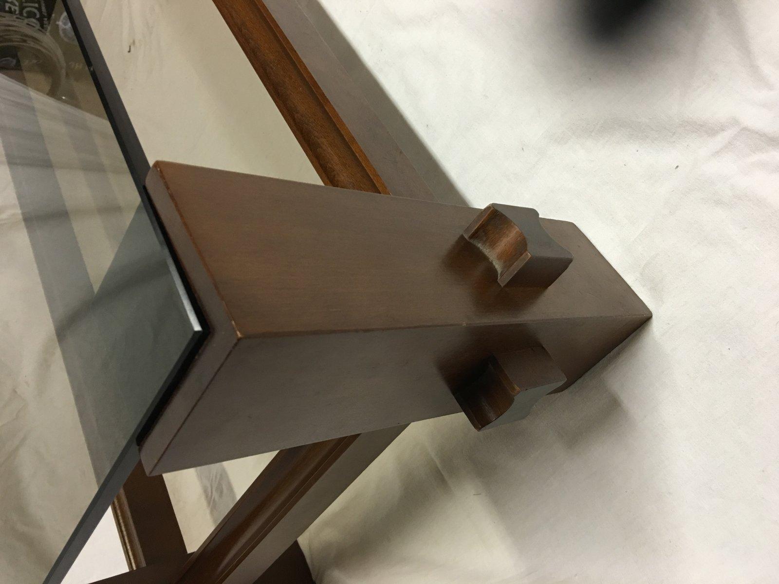 italienischer mid century tisch aus glas holz von. Black Bedroom Furniture Sets. Home Design Ideas