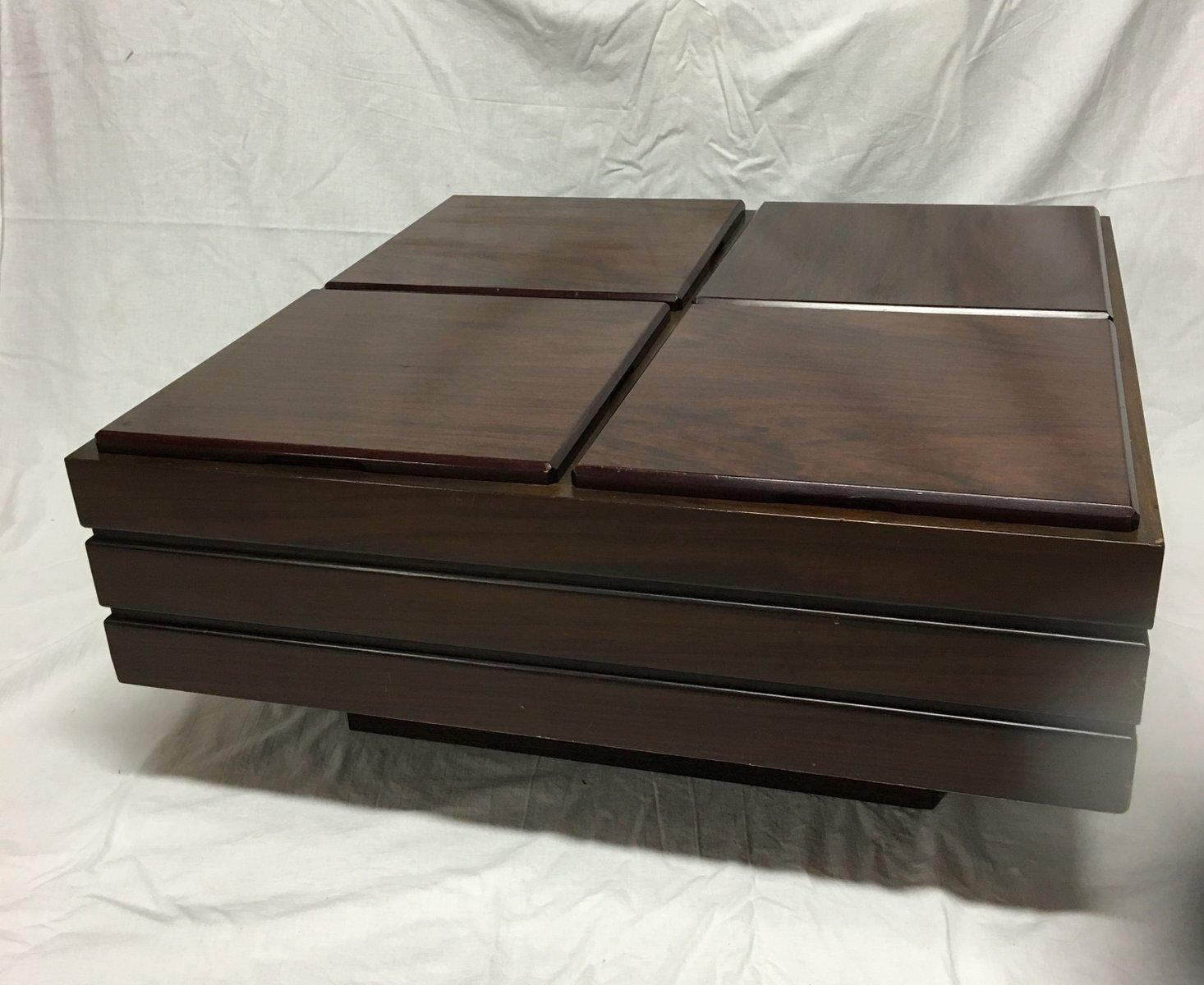 viereckiger palisander tisch mit vier staur umen 1970er bei pamono kaufen. Black Bedroom Furniture Sets. Home Design Ideas