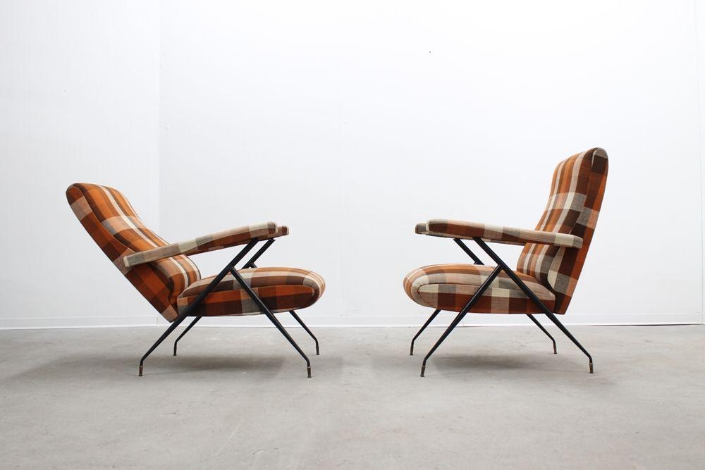 Mid Century Italian Recliner Armchairs 1950s Set Of 2