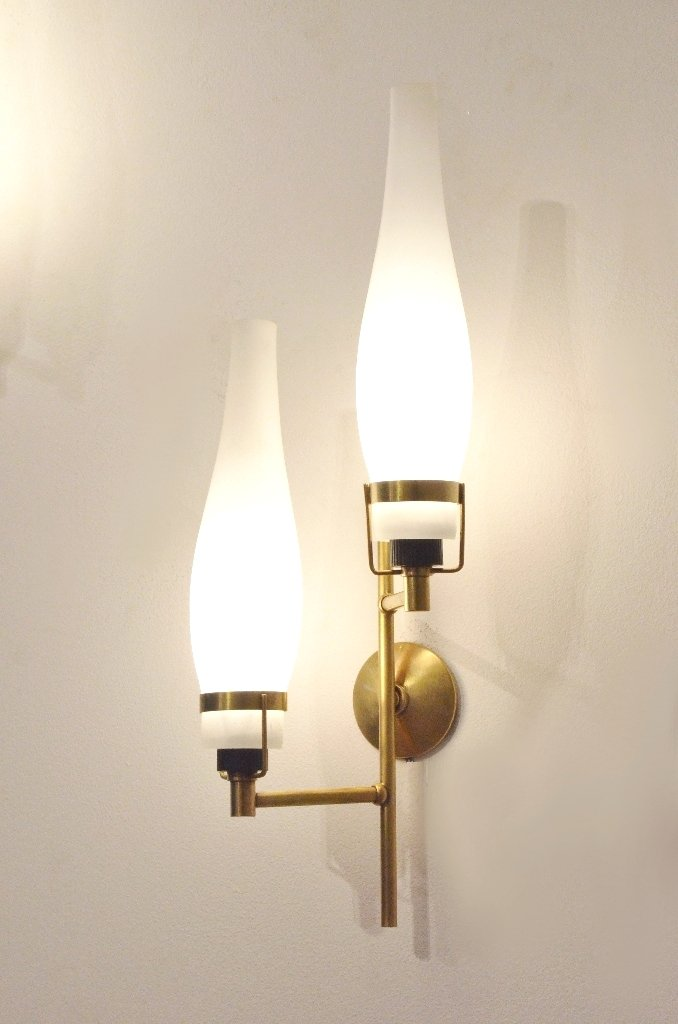 Wall Sconces Set Of 2 : Mid-Century Italian Glass & Brass Wall Sconces, 1950s, Set of 2 for sale at Pamono