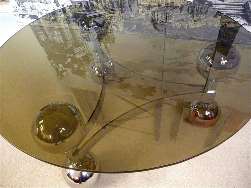 German Sputnik Chrome Coffee Table With Glass Top, 1960s