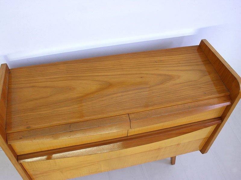 kirschholz kommode mit spiegel 1950er bei pamono kaufen. Black Bedroom Furniture Sets. Home Design Ideas