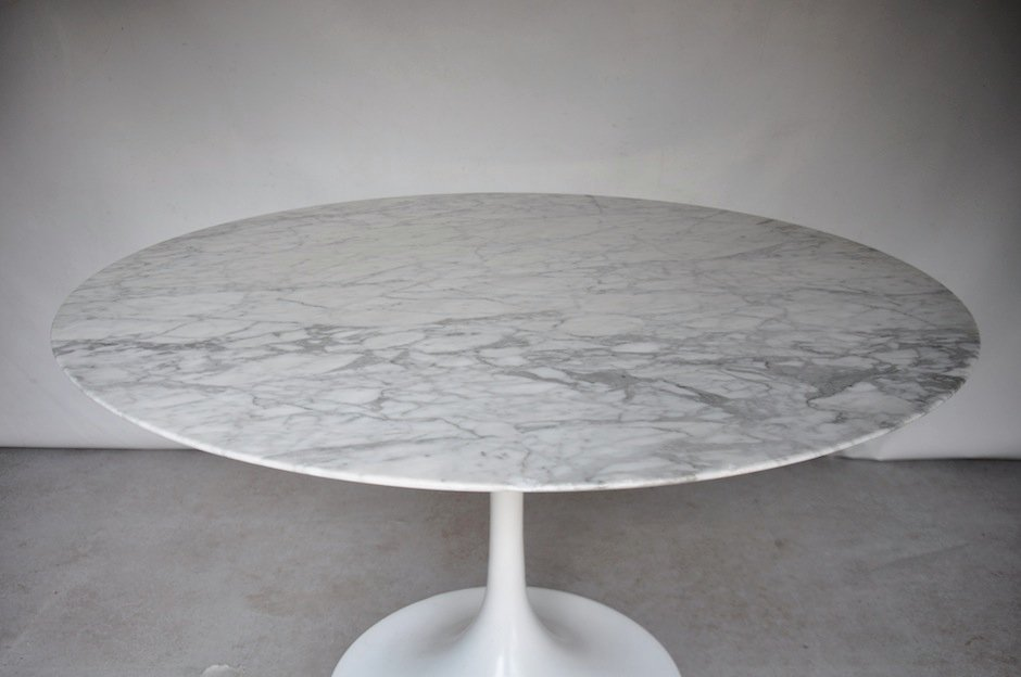 table de salle manger ronde mid century en marbre en vente sur pamono. Black Bedroom Furniture Sets. Home Design Ideas