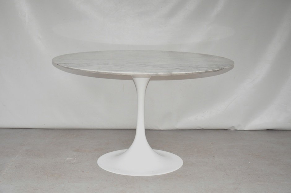 Mid Century Round Marble Dining Table For Sale At Pamono