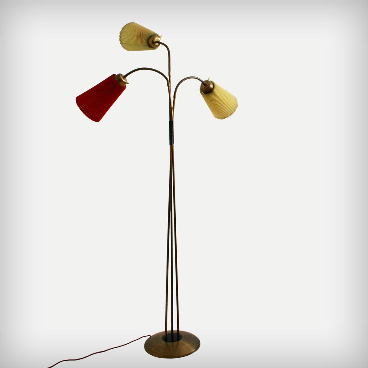 Italian three arm brass floor lamp 1950s for sale at pamono for 1950 s brass floor lamp