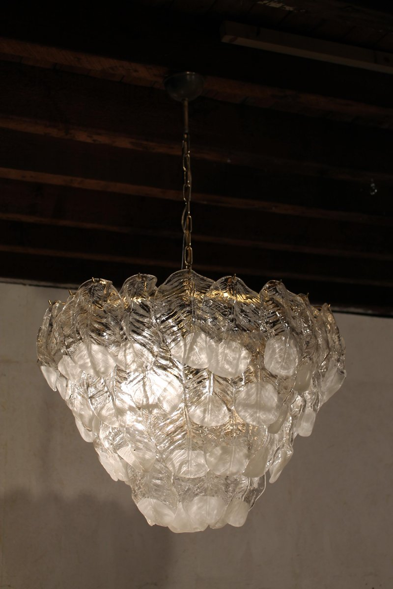Large glass leaf chandelier from mazzega 1960s for sale at pamono large glass leaf chandelier from mazzega 1960s arubaitofo Choice Image