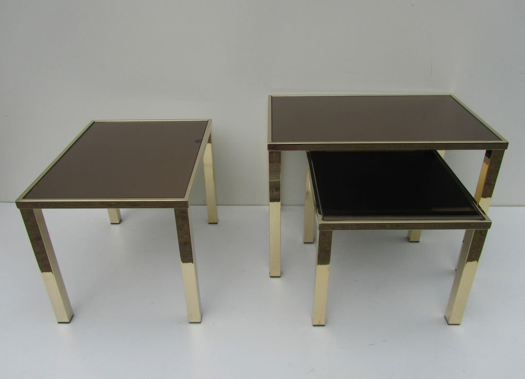 Golden nesting side tables from belgochrom 1970s for sale for Table th means