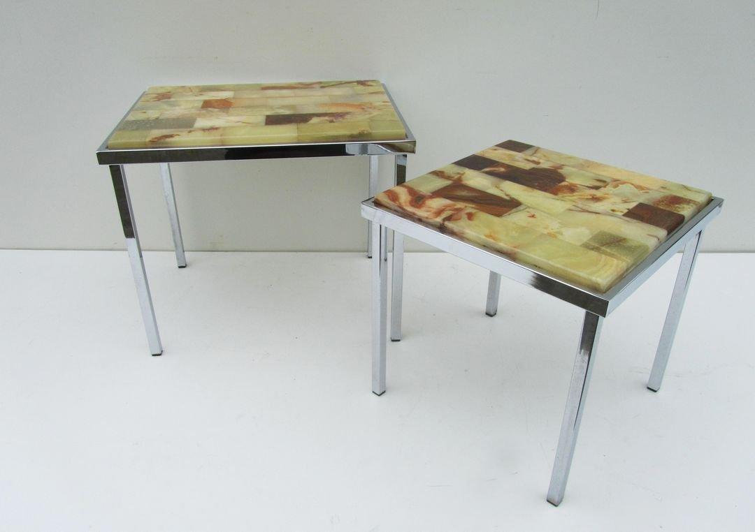 Mid Century Chrome U0026 Marble Nesting Side Tables, Set Of 2