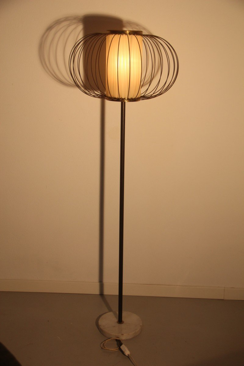 Italian brass marble floor lamp 1950s for sale at pamono for 1950s floor lamps