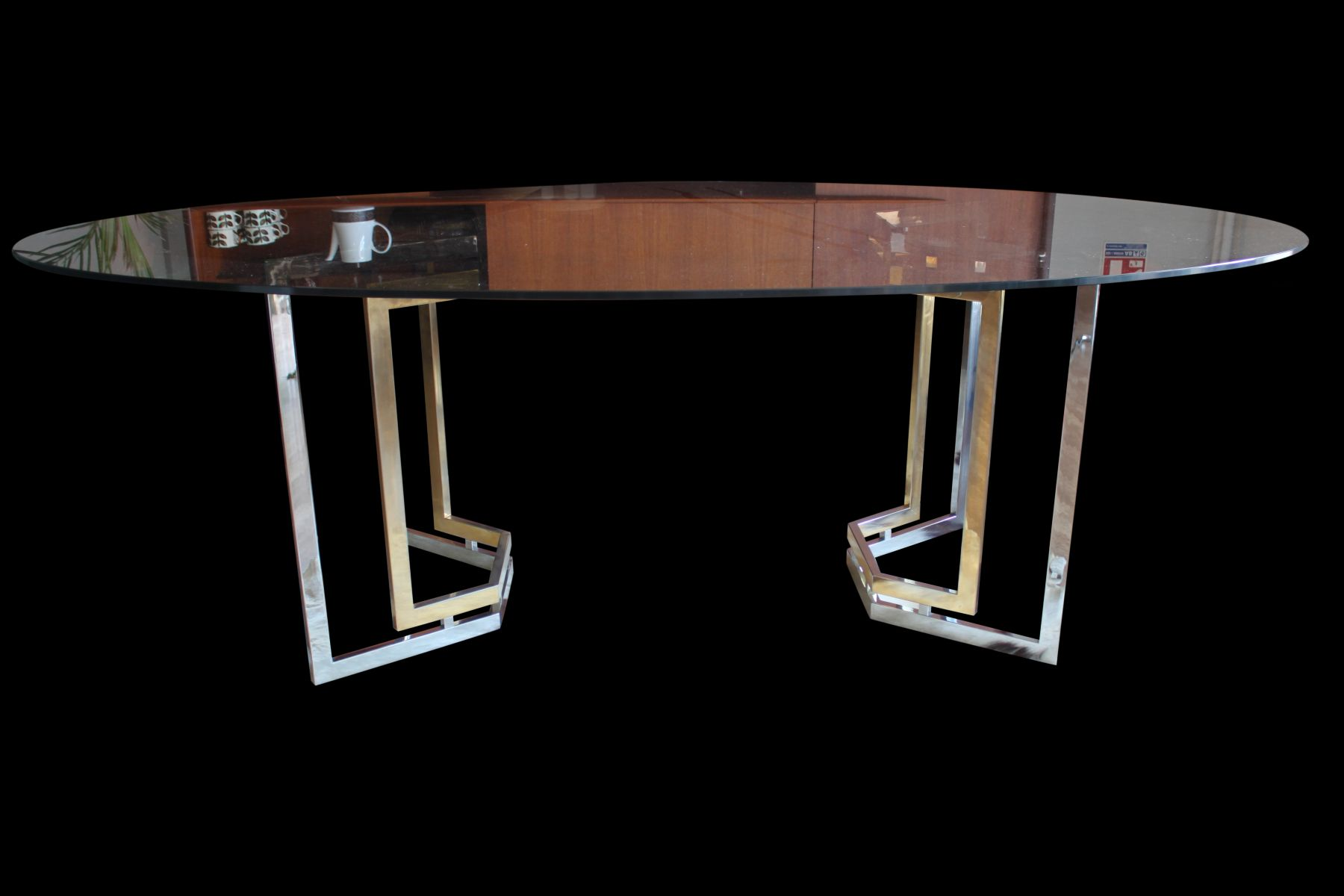 French Smoked Glass Chrome And Brass Dining Table From
