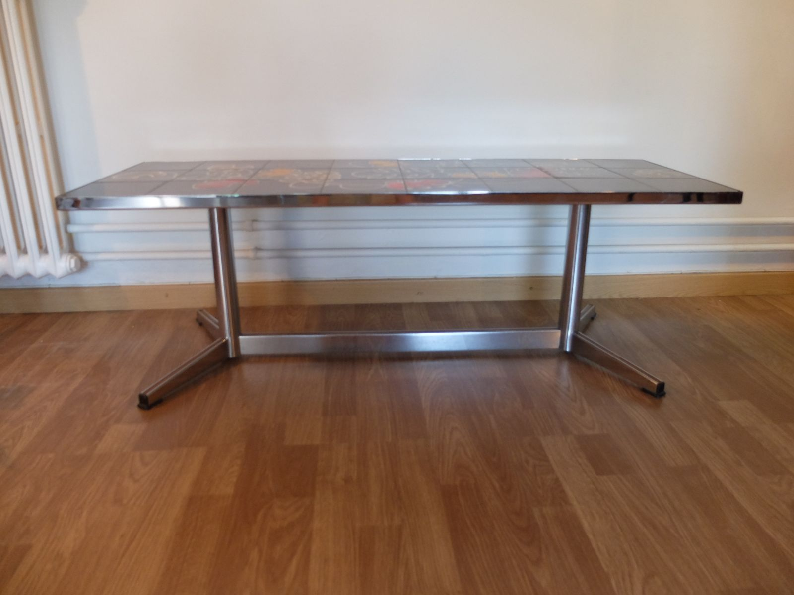 French Vallauris Chromed Steel and Ceramics Coffee Table 1970s