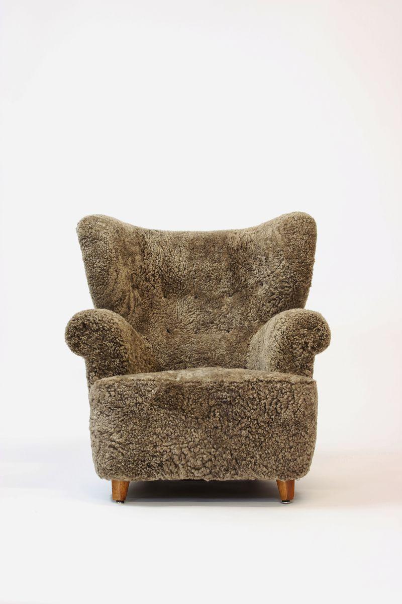 d nischer schaffell sessel 1950er bei pamono kaufen. Black Bedroom Furniture Sets. Home Design Ideas