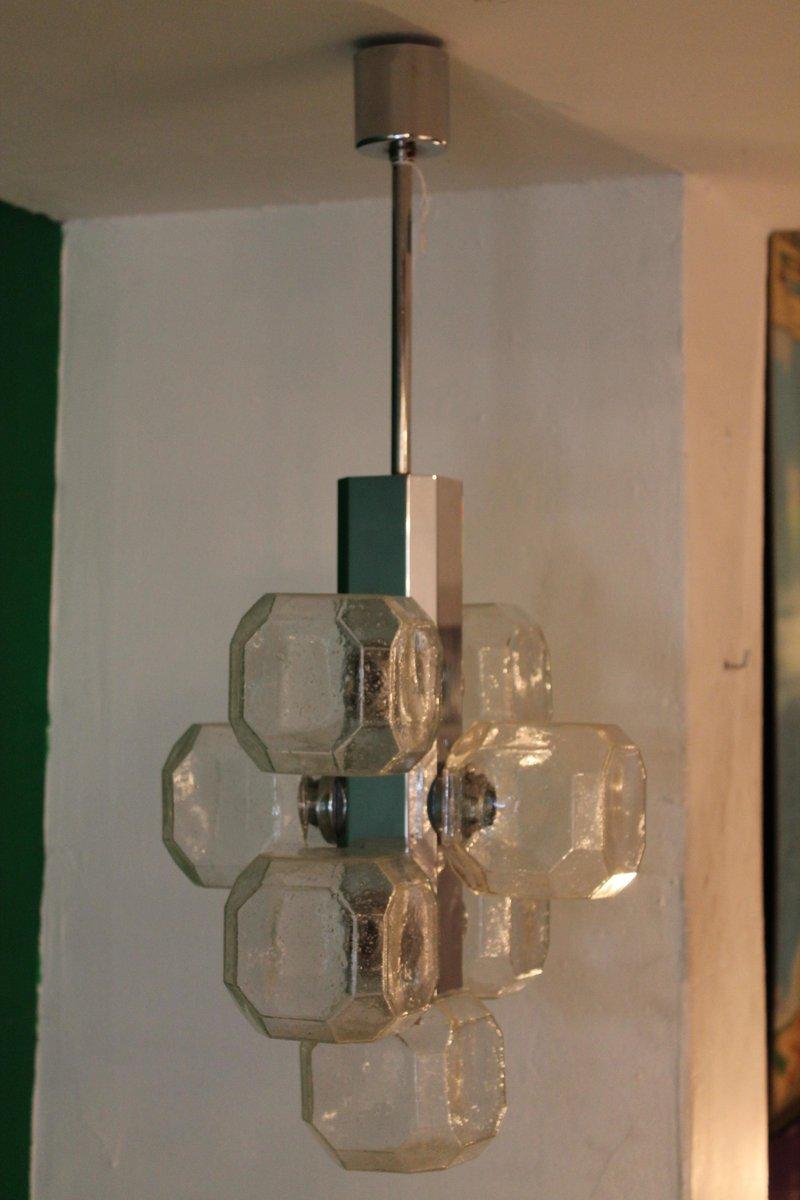 kubischer glas kronleuchter von gaetano sciolari 1960er bei pamono kaufen. Black Bedroom Furniture Sets. Home Design Ideas