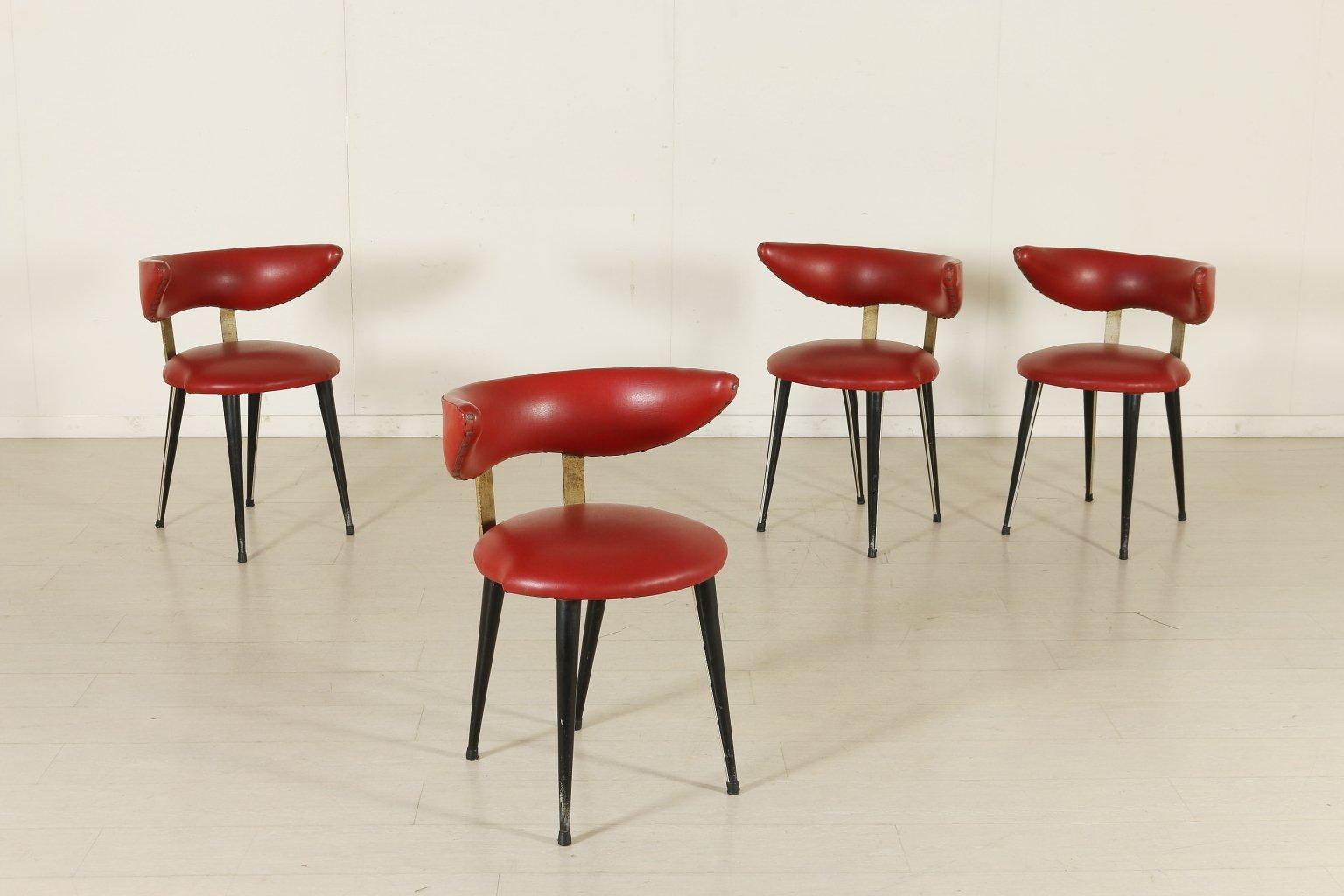 italienische st hle aus aluminium kunstleder und lackiertem holz 1950er 4er set bei pamono kaufen. Black Bedroom Furniture Sets. Home Design Ideas