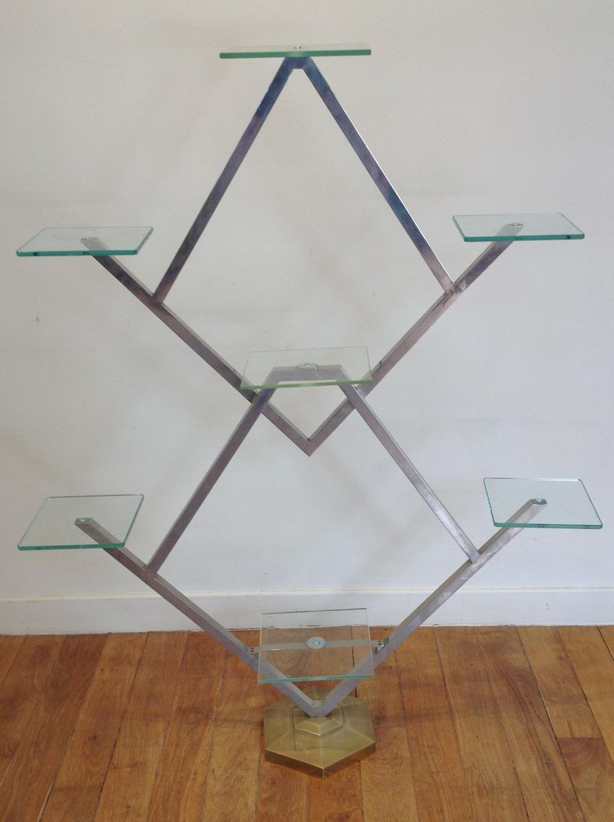 Vintage art deco chrome glass etag re for sale at pamono - Etagere string vintage ...