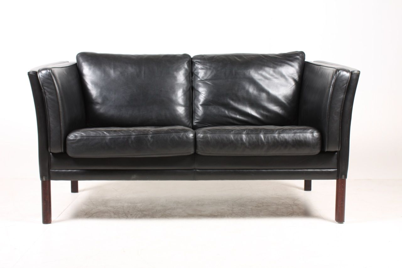 Danish Two Seater Black Leather Sofa 1980s For Sale At Pamono