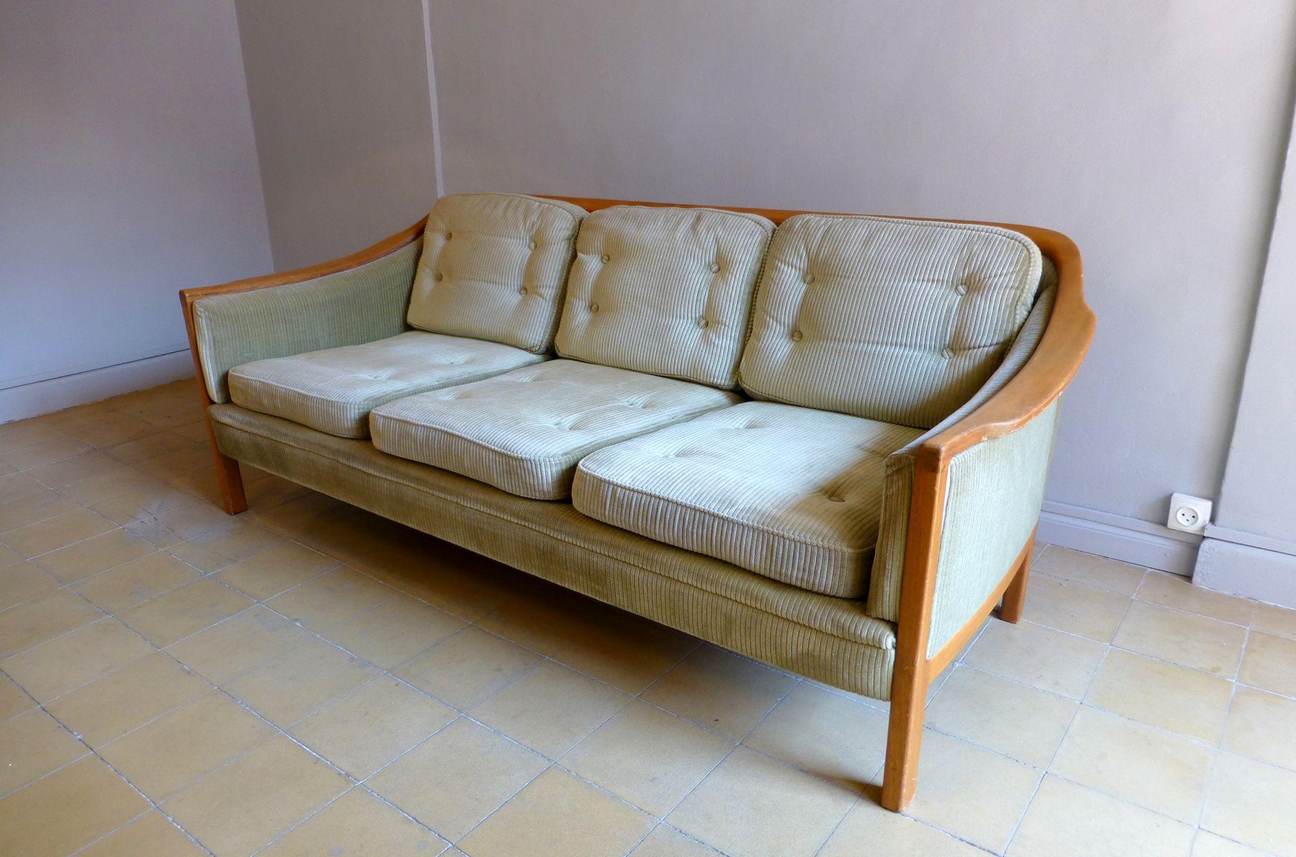 Swedish Corduroy Three Seater Sofa 1950 For Sale At Pamono