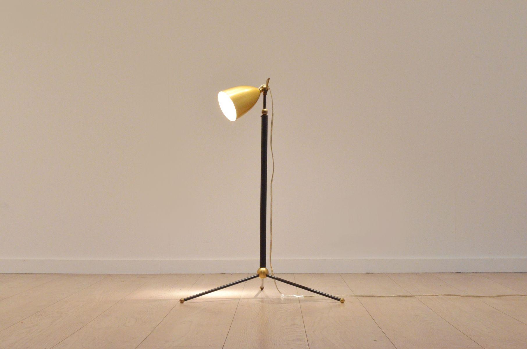 Italian copper metal adjustable tripod floor lamp 1950s for Copper camera floor lamp