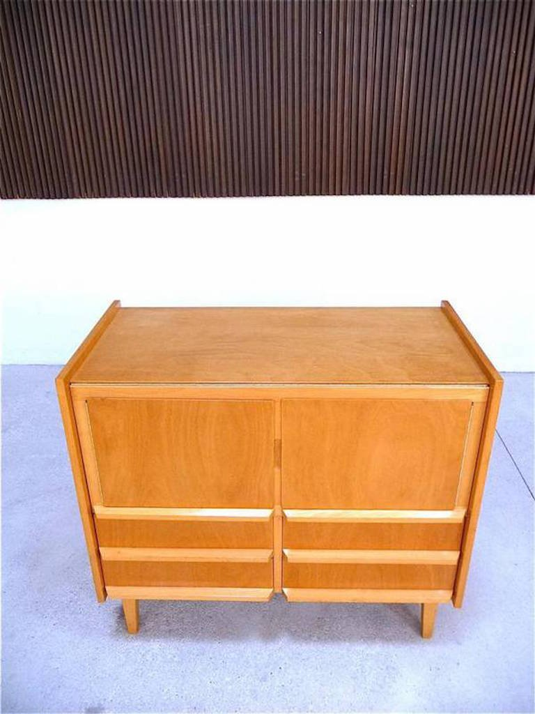 Nitrogen Bench Top Cabinet ~ German birch cabinet with fold out table top s for