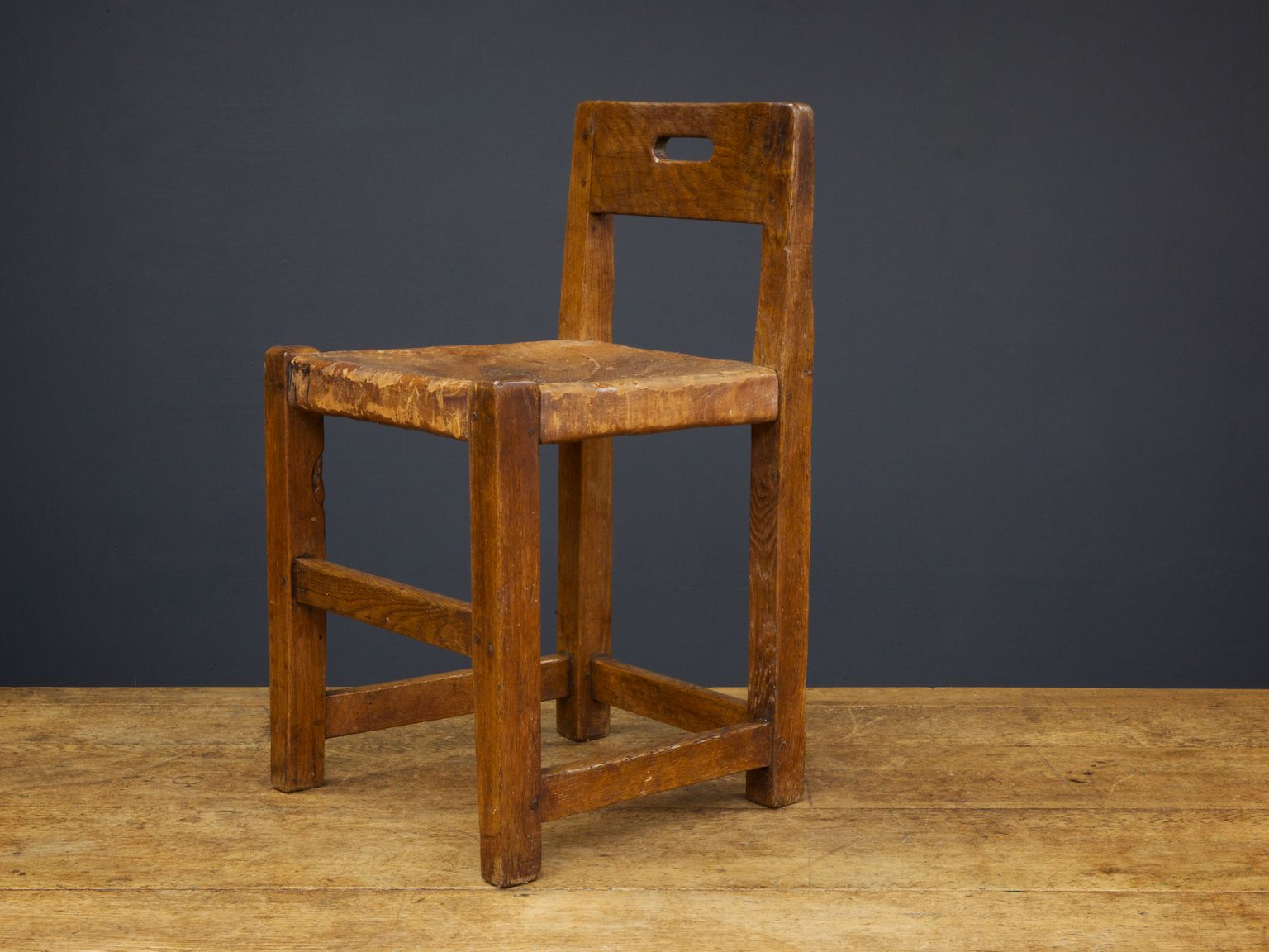 English Oak & Leather Chair from Robert Thompson 1930s