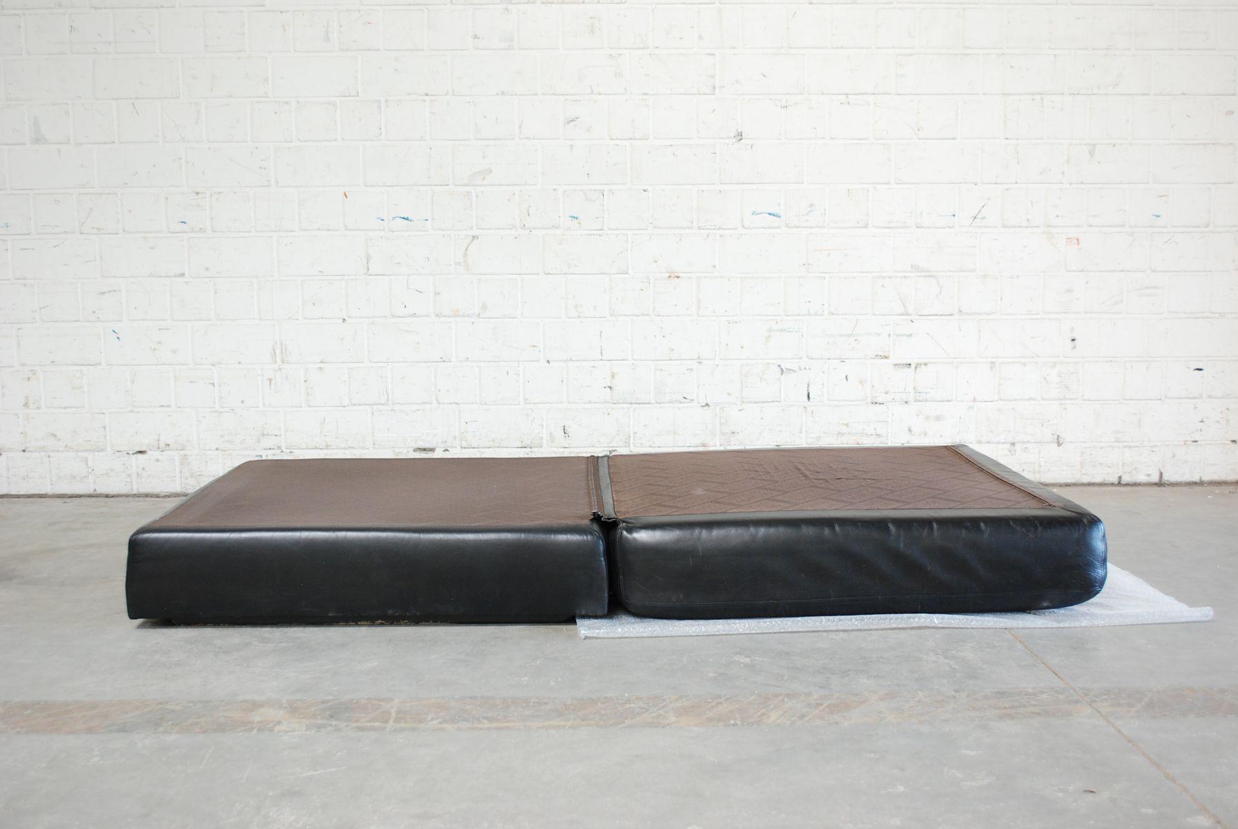 vintage ds 76 black leather pouf or daybed from de sede for sale at pamono. Black Bedroom Furniture Sets. Home Design Ideas