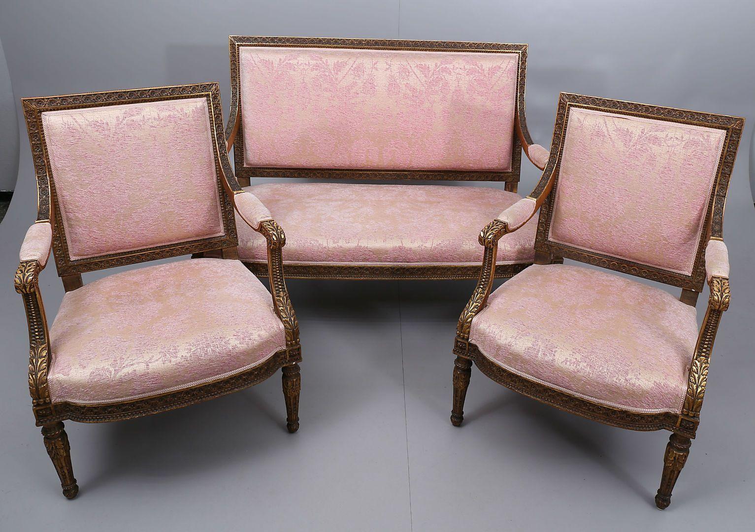 Schwedische Salon Sitzgruppe 1900er 3er Set Bei Pamono