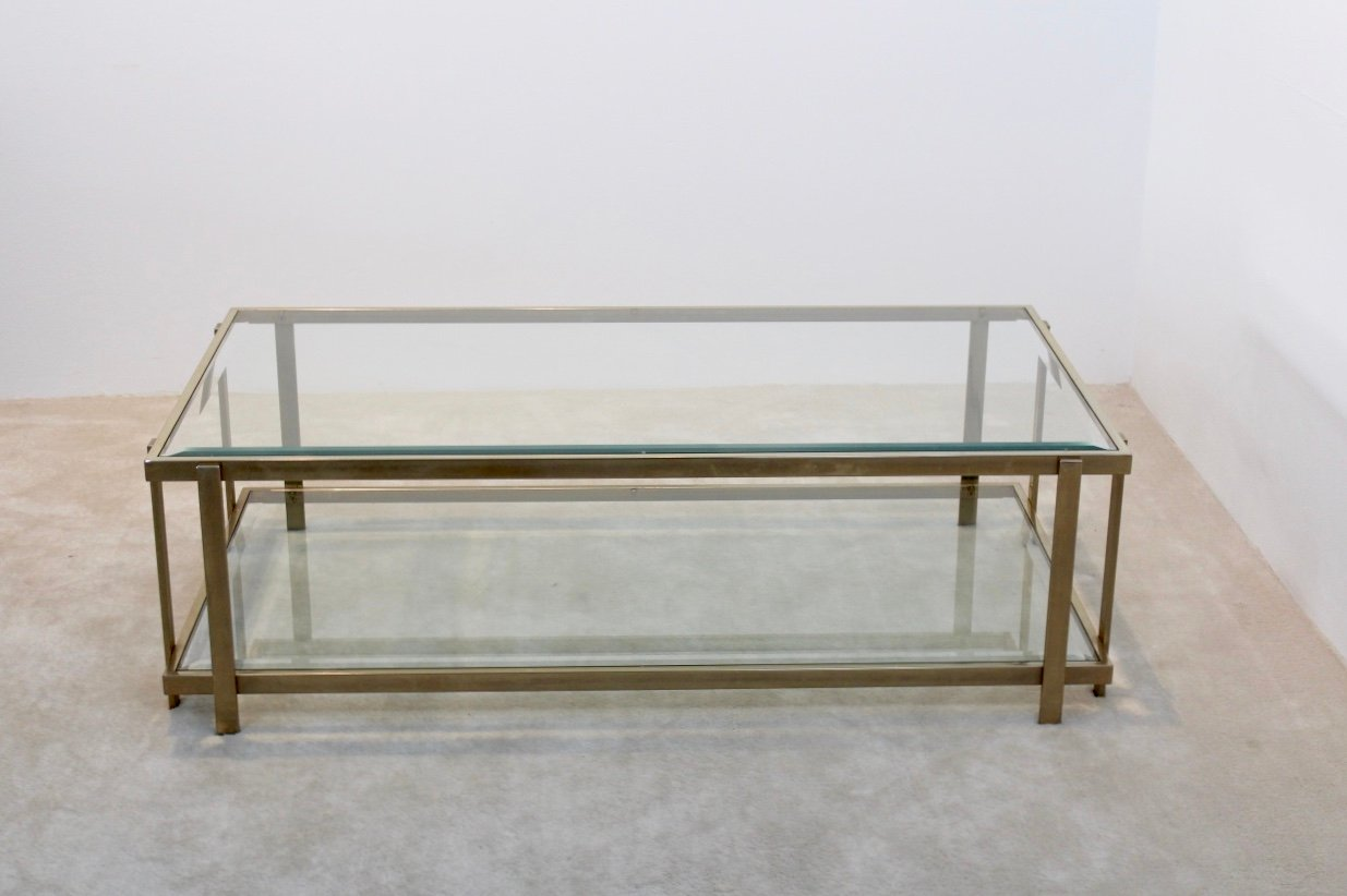 Large french graphical glass and brass coffee table 1970s for Big glass coffee table