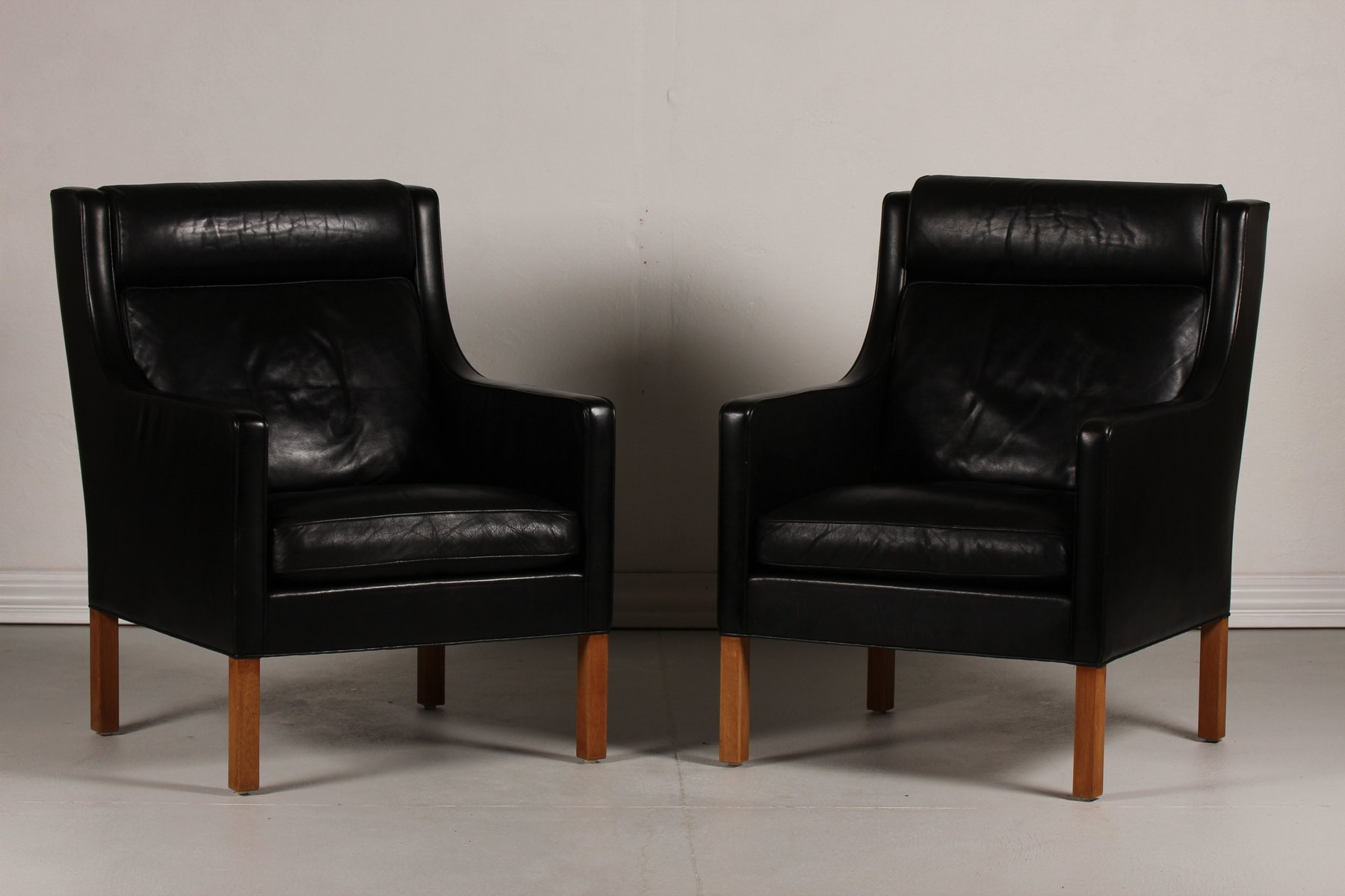 Danish 2431 Black Leather and Oak Wing Chairs by B¸rge Mogensen