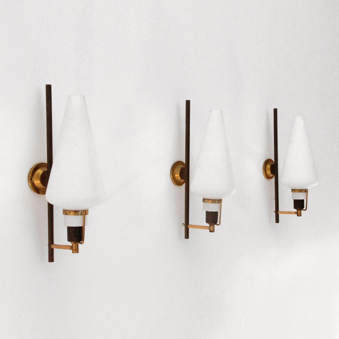 Wall Lamp Set Sri Lanka : Italian Brass & Glass Wall Light, 1950s, set of 3 for sale at Pamono