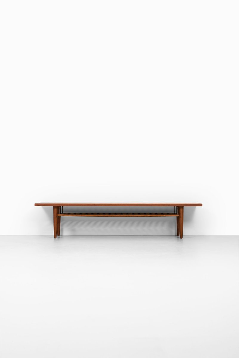 Scandinavian long teak side table with magazine rack for Long side table