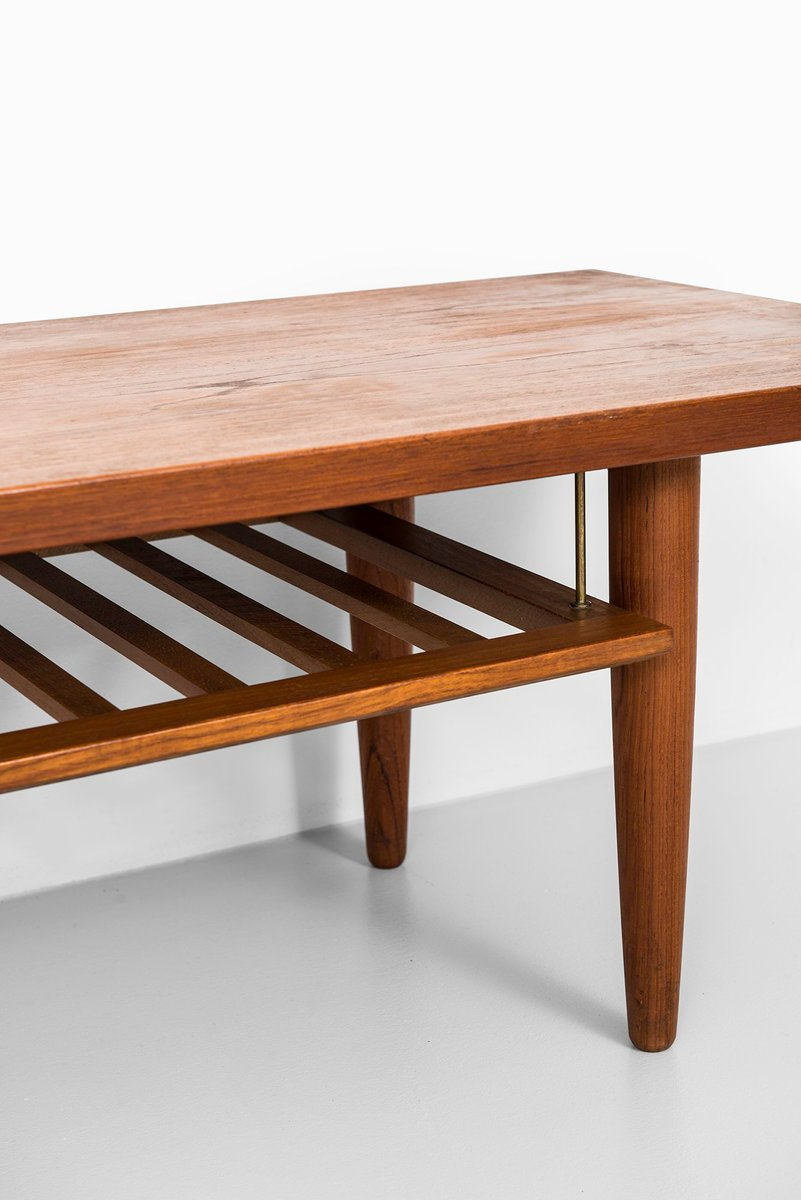 Scandinavian Long Teak Side Table with Magazine Rack ...