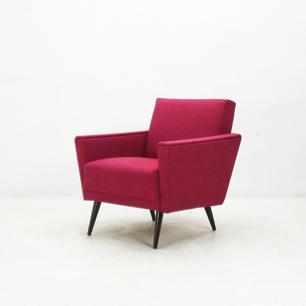 pink armchair with beech legs 1950s for sale at pamono