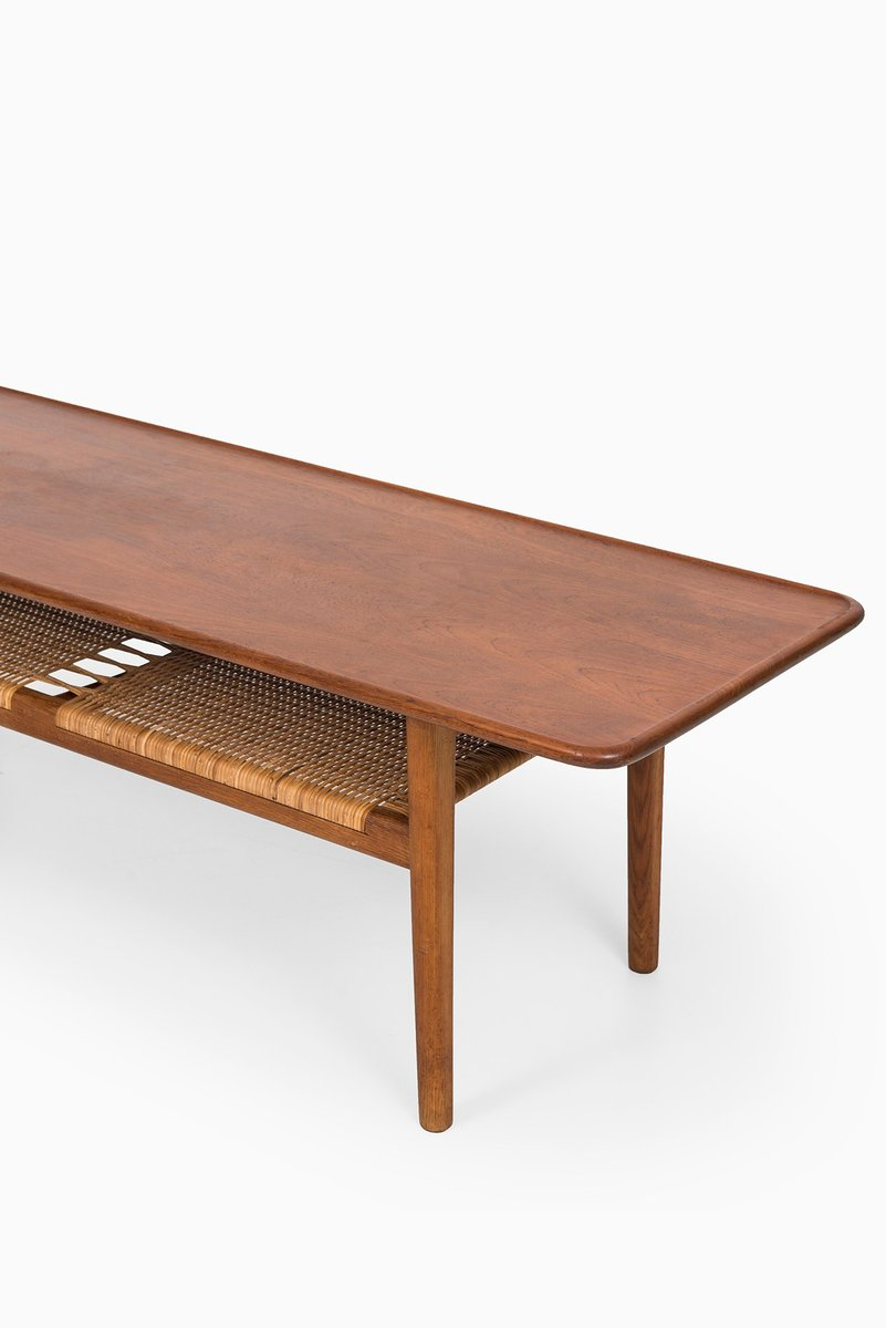 Danish At 10 Teak Cane Coffee Table By Hans Wegner For Andreas Tuck 1950s For Sale At Pamono