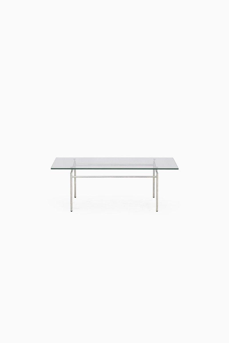 danish minimalist chrome & glass coffee tablepoul nørreklit