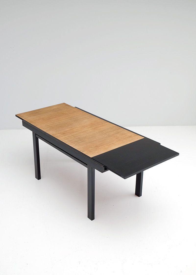 table de salle manger vintage extensible bicolore en. Black Bedroom Furniture Sets. Home Design Ideas