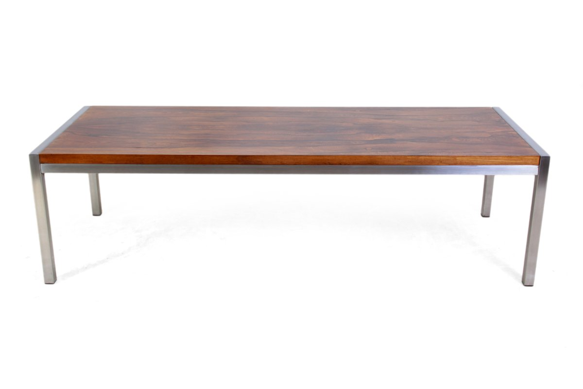 Rosewood Coffee Table With Steel Legs 1960s For Sale At Pamono