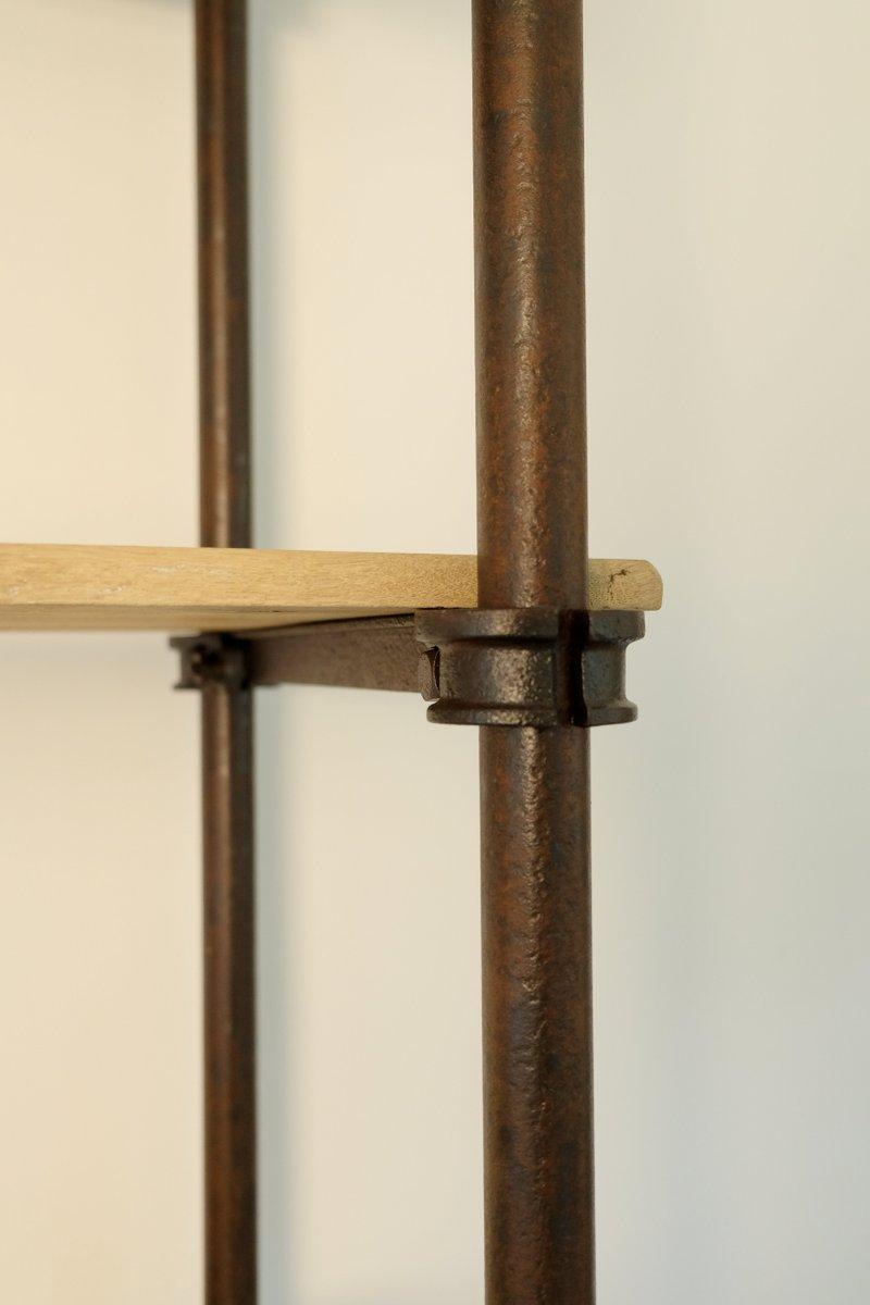 industrielles vintage regal aus metall gebleichtem eichenholz bei pamono kaufen. Black Bedroom Furniture Sets. Home Design Ideas