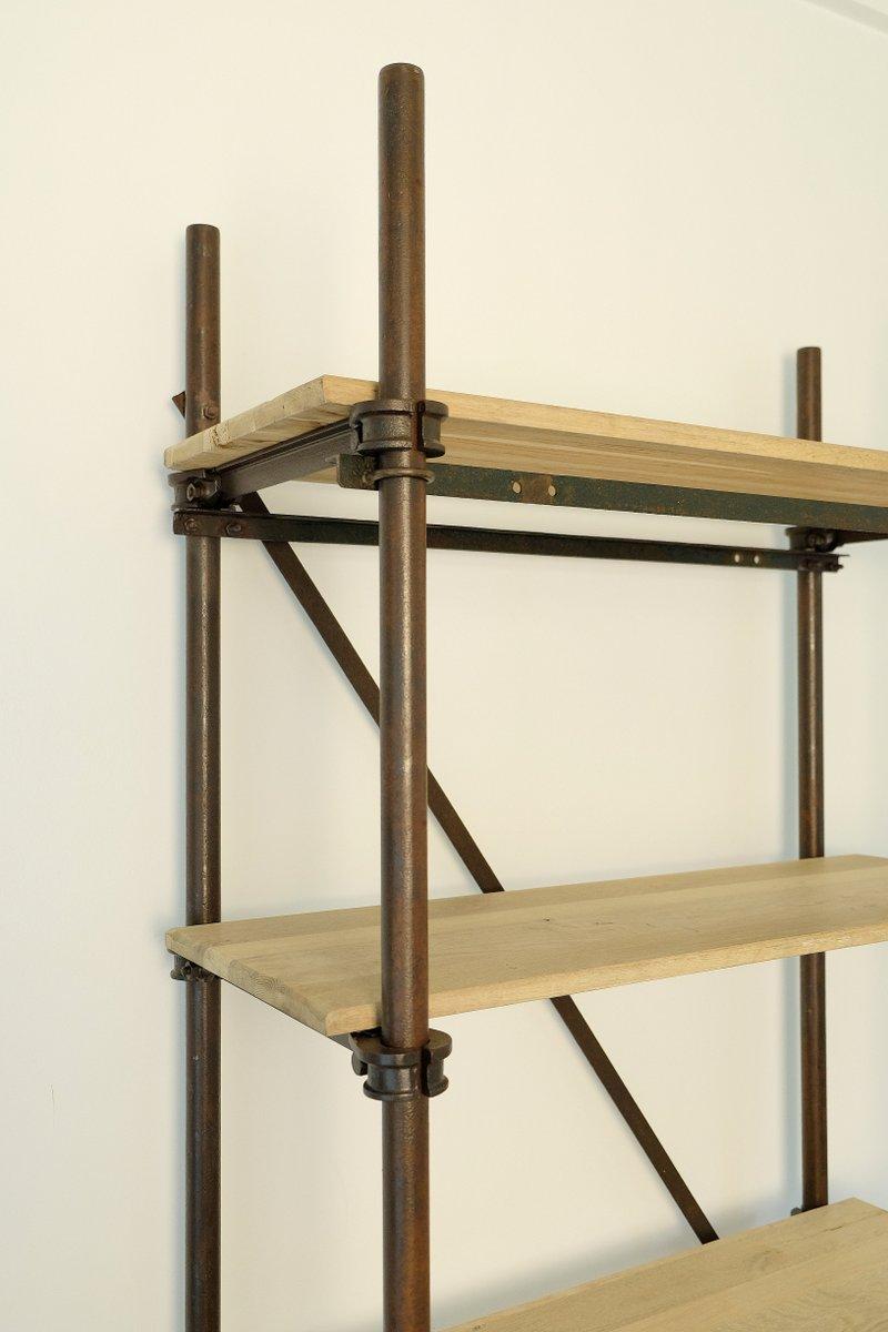 industrielles vintage regal aus metall gebleichtem eichenholz bei pamon. Black Bedroom Furniture Sets. Home Design Ideas