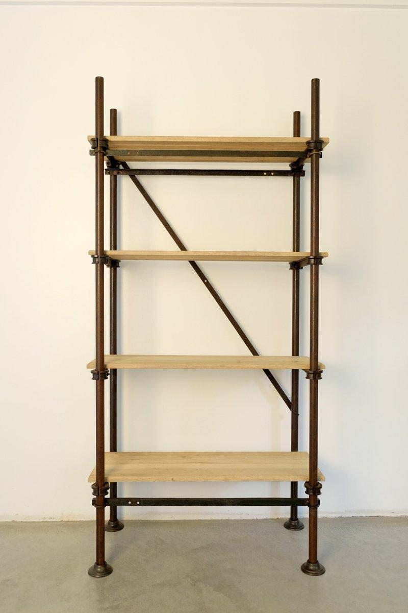vintage industrial metal and bleached oak rack for sale at. Black Bedroom Furniture Sets. Home Design Ideas