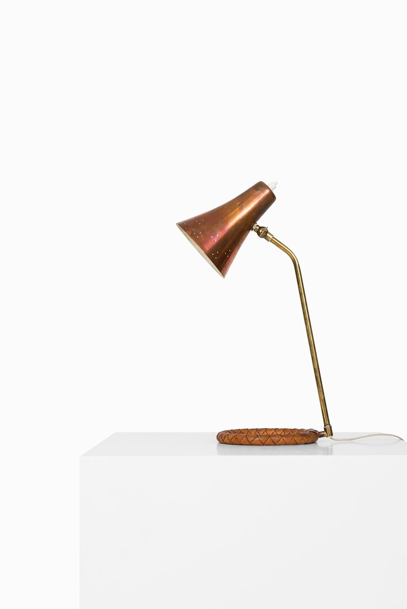 Scandinavian Copper, Brass & Leather Table Lamp, 1950s for sale at ...