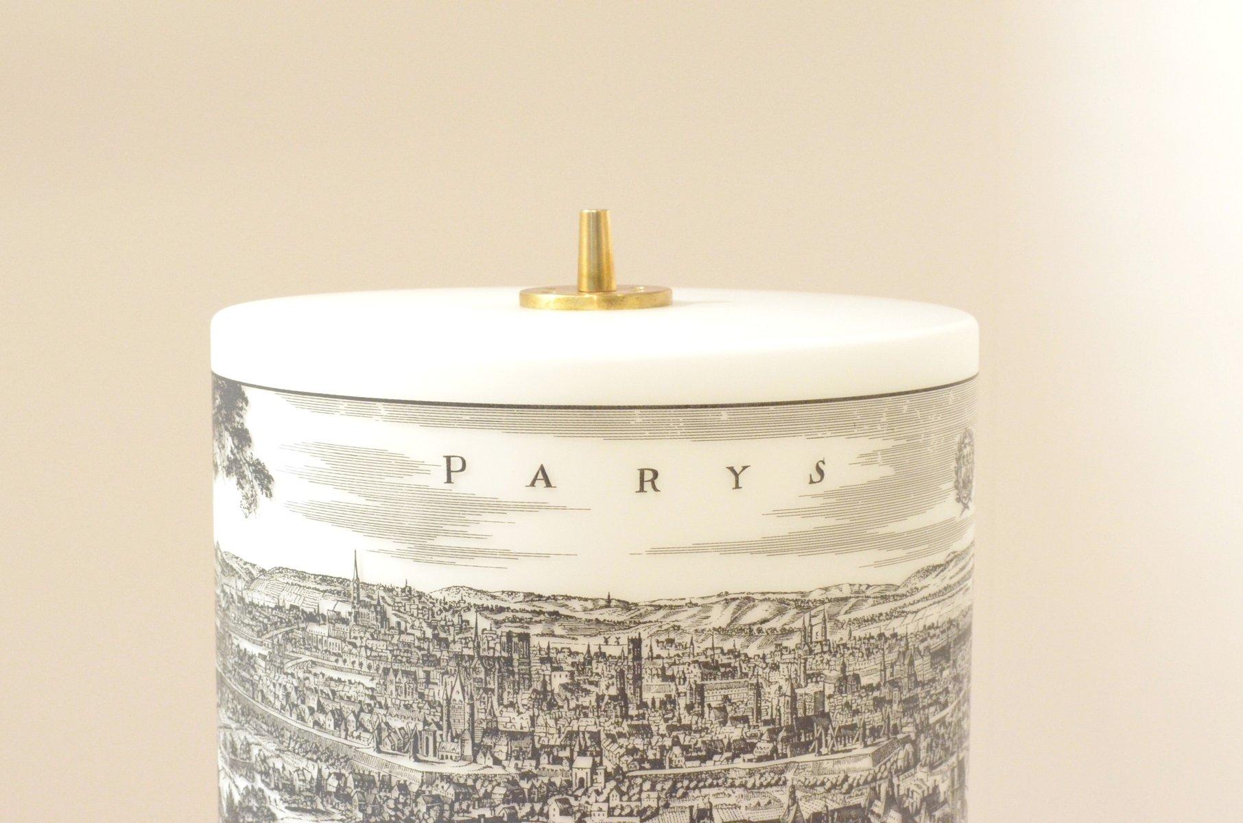 italienische moderne mid century tischlampe mit bedrucktem lampenschirm aus glas 1950er bei. Black Bedroom Furniture Sets. Home Design Ideas